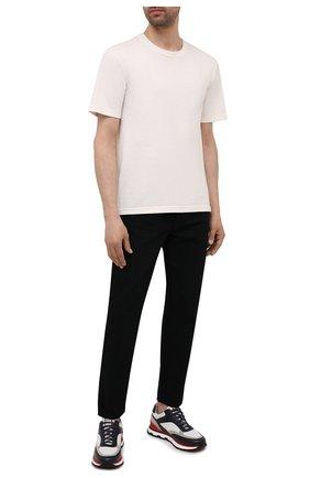 Мужские комбинированные кроссовки BOSS разноцветного цвета, арт. 50452595 | Фото 2 (Материал внешний: Текстиль; Подошва: Массивная)