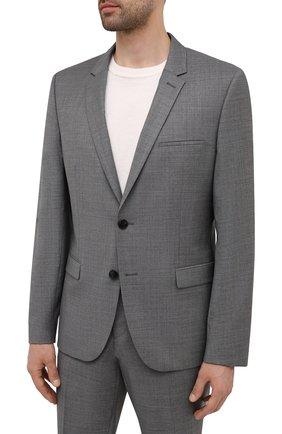 Мужской шерстяной костюм HUGO серого цвета, арт. 50457373   Фото 2 (Материал внешний: Шерсть; Рукава: Длинные; Костюмы М: Однобортный; Стили: Кэжуэл)