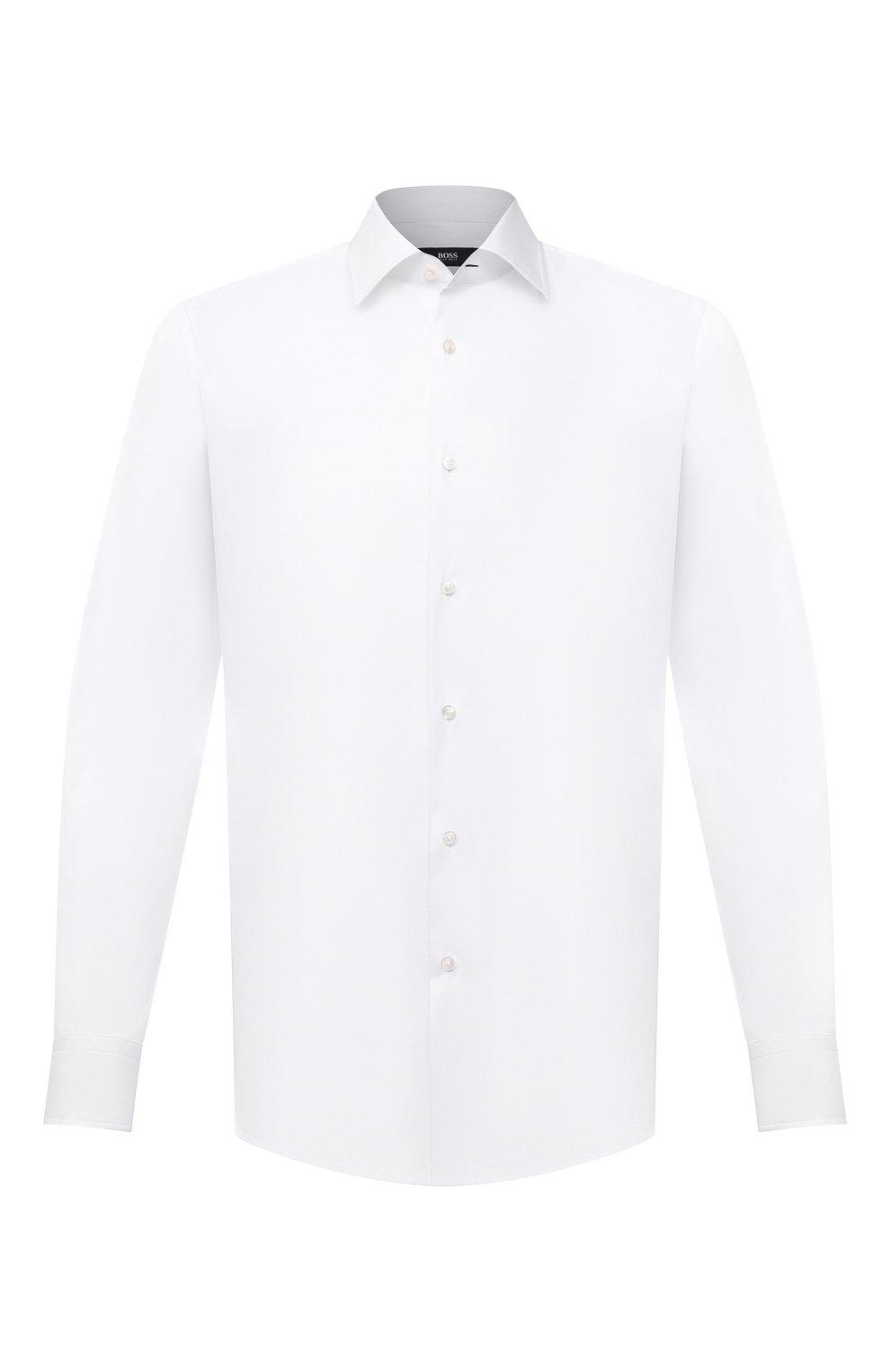 Мужская хлопковая сорочка BOSS белого цвета, арт. 50445840   Фото 1