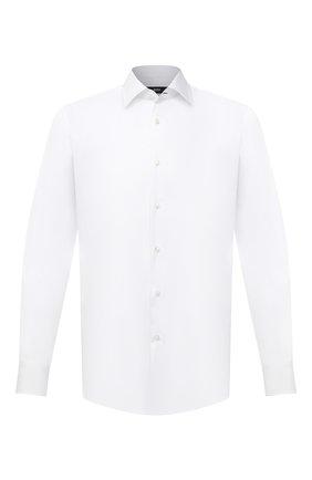 Мужская хлопковая сорочка BOSS белого цвета, арт. 50445840 | Фото 1 (Материал внешний: Хлопок; Длина (для топов): Стандартные; Случай: Формальный; Воротник: Кент; Рукава: Длинные; Рубашки М: Regular Fit; Стили: Классический; Принт: Однотонные; Манжеты: На пуговицах)