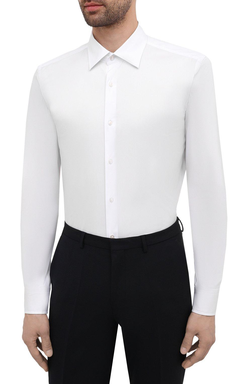 Мужская хлопковая сорочка BOSS белого цвета, арт. 50445840   Фото 3