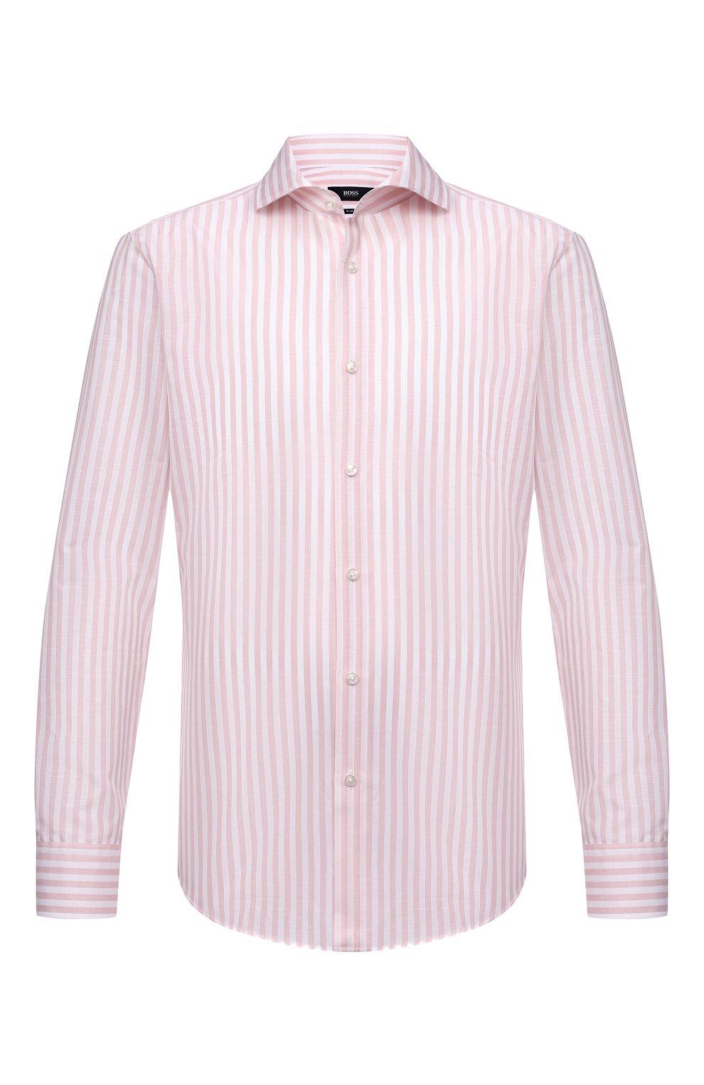 Мужская рубашка из хлопка и льна BOSS розового цвета, арт. 50451268 | Фото 1