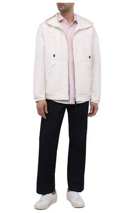Мужская рубашка из хлопка и льна BOSS розового цвета, арт. 50451268 | Фото 2