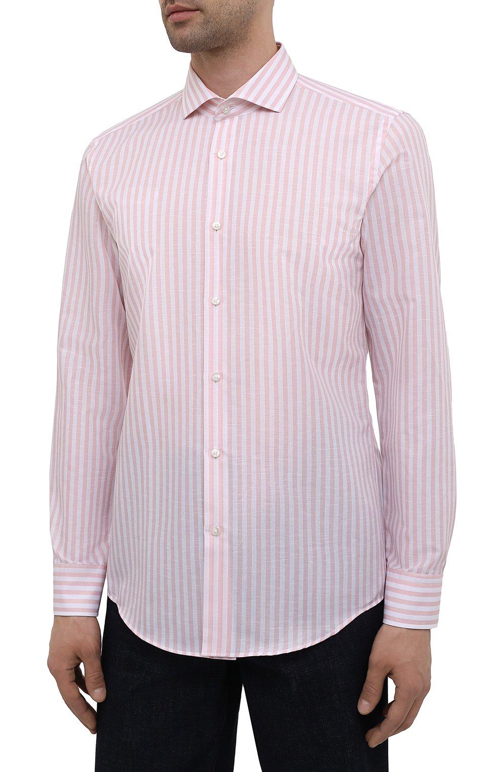 Мужская рубашка из хлопка и льна BOSS розового цвета, арт. 50451268 | Фото 3