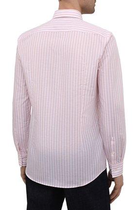 Мужская рубашка из хлопка и льна BOSS розового цвета, арт. 50451268 | Фото 4