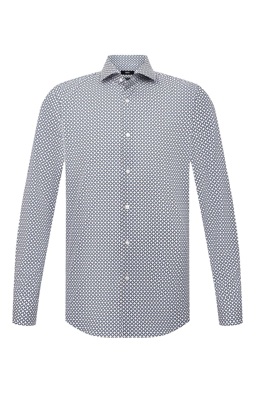 Мужская рубашка из хлопка и льна BOSS синего цвета, арт. 50454065 | Фото 1