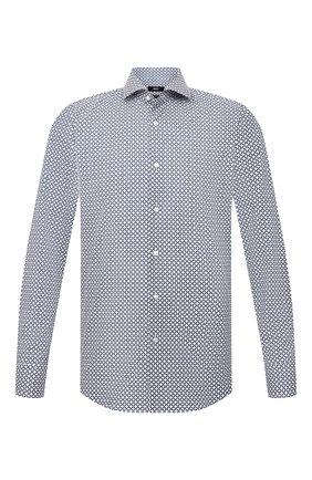 Мужская рубашка из хлопка и льна BOSS синего цвета, арт. 50454065 | Фото 1 (Материал внешний: Хлопок; Длина (для топов): Стандартные; Рукава: Длинные; Случай: Повседневный; Рубашки М: Regular Fit; Стили: Кэжуэл)