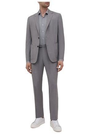 Мужская рубашка из хлопка и льна BOSS синего цвета, арт. 50454065 | Фото 2 (Материал внешний: Хлопок; Длина (для топов): Стандартные; Рукава: Длинные; Случай: Повседневный; Рубашки М: Regular Fit; Стили: Кэжуэл)