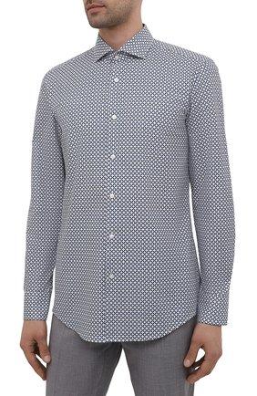 Мужская рубашка из хлопка и льна BOSS синего цвета, арт. 50454065 | Фото 3