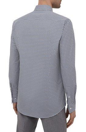 Мужская рубашка из хлопка и льна BOSS синего цвета, арт. 50454065 | Фото 4
