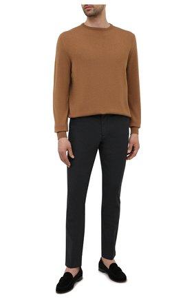 Мужские хлопковые брюки BOSS темно-зеленого цвета, арт. 50452804   Фото 2 (Материал внешний: Хлопок; Длина (брюки, джинсы): Стандартные; Случай: Повседневный; Стили: Кэжуэл)