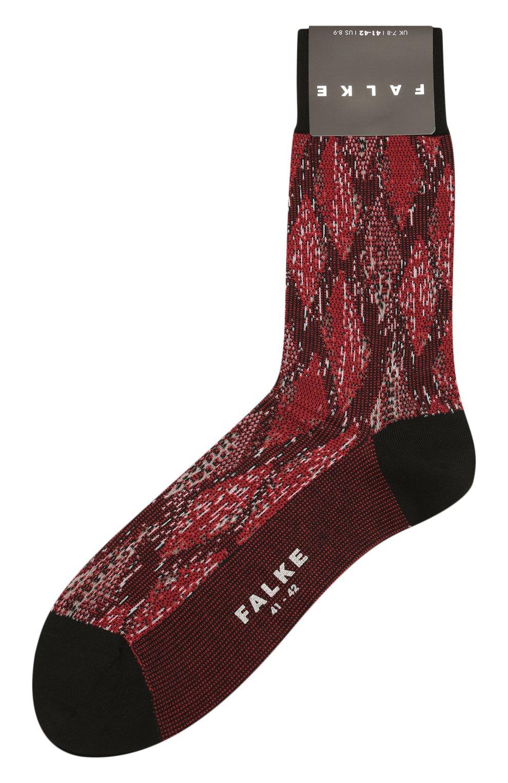 Мужские хлопковые носки FALKE бордового цвета, арт. 12441 | Фото 1 (Кросс-КТ: бельё; Материал внешний: Хлопок)
