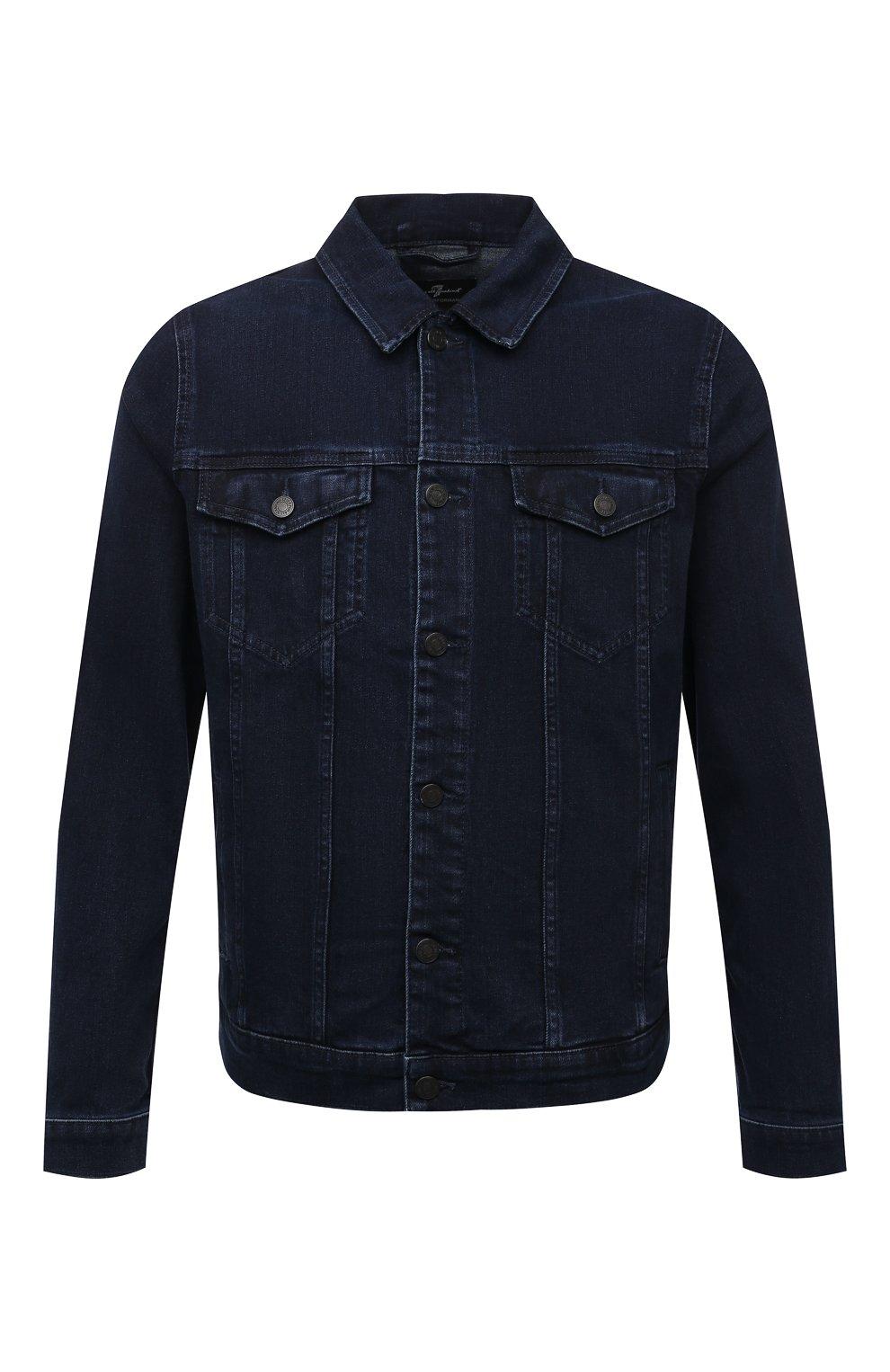 Мужская джинсовая куртка 7 FOR ALL MANKIND синего цвета, арт. JSK5R460LL | Фото 1 (Кросс-КТ: Куртка; Рукава: Длинные; Материал внешний: Хлопок, Деним; Длина (верхняя одежда): Короткие; Стили: Кэжуэл)