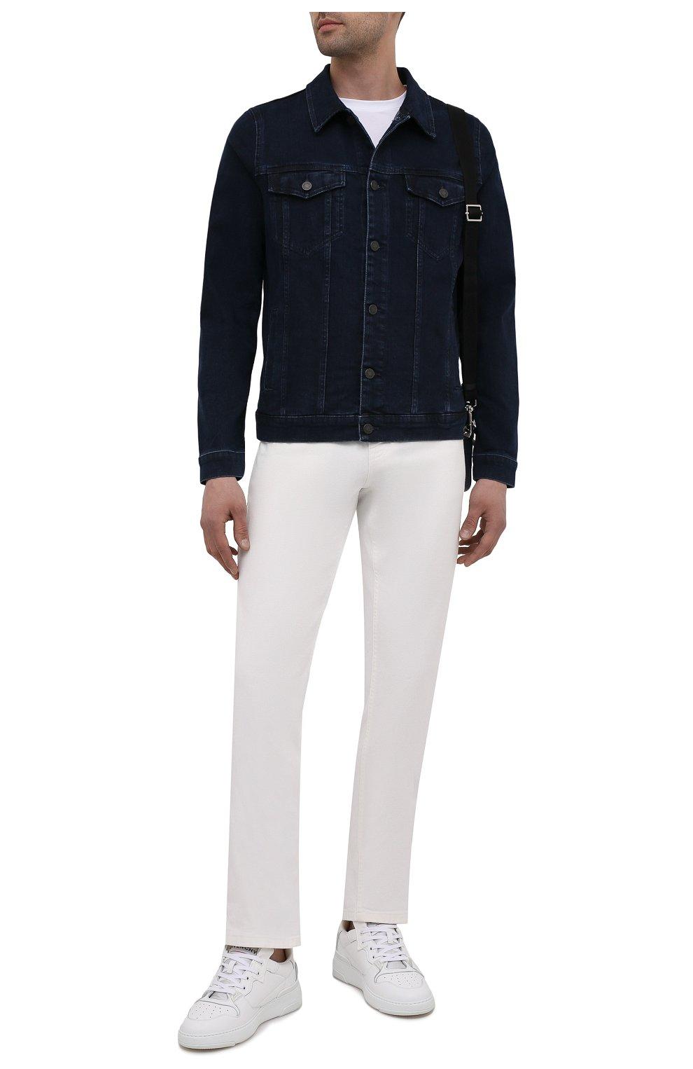Мужская джинсовая куртка 7 FOR ALL MANKIND синего цвета, арт. JSK5R460LL | Фото 2 (Кросс-КТ: Куртка; Рукава: Длинные; Материал внешний: Хлопок, Деним; Длина (верхняя одежда): Короткие; Стили: Кэжуэл)