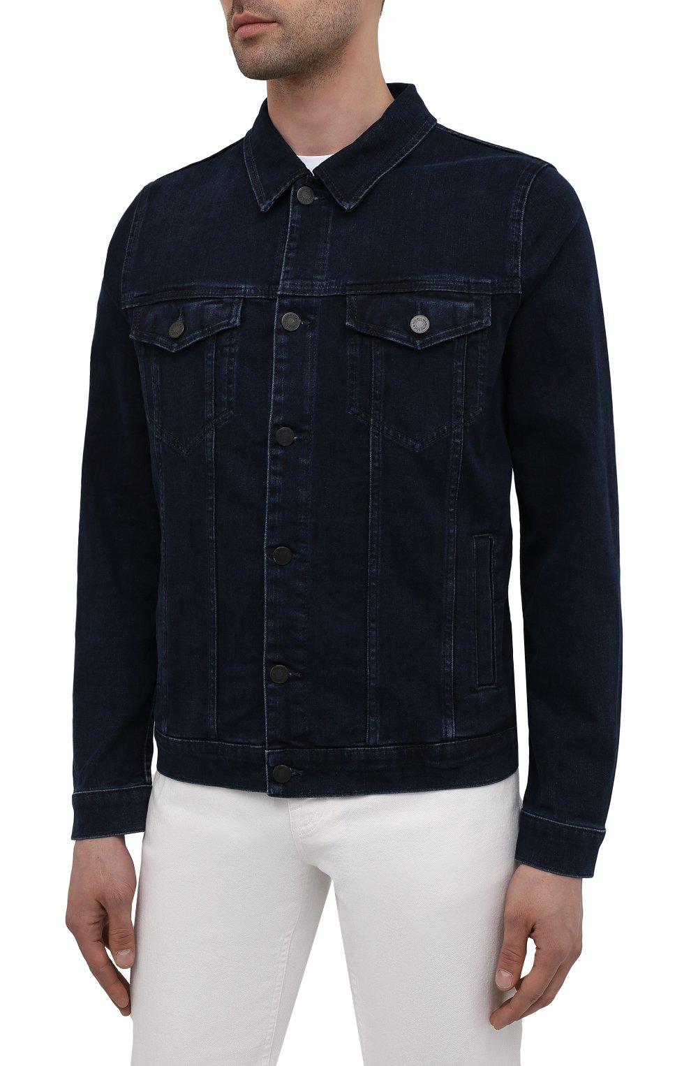 Мужская джинсовая куртка 7 FOR ALL MANKIND синего цвета, арт. JSK5R460LL | Фото 3 (Кросс-КТ: Куртка; Рукава: Длинные; Материал внешний: Хлопок, Деним; Длина (верхняя одежда): Короткие; Стили: Кэжуэл)