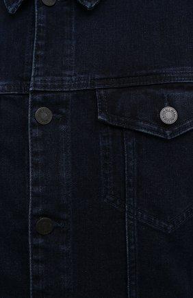 Мужская джинсовая куртка 7 FOR ALL MANKIND синего цвета, арт. JSK5R460LL | Фото 5 (Кросс-КТ: Куртка; Рукава: Длинные; Материал внешний: Хлопок, Деним; Длина (верхняя одежда): Короткие; Стили: Кэжуэл)