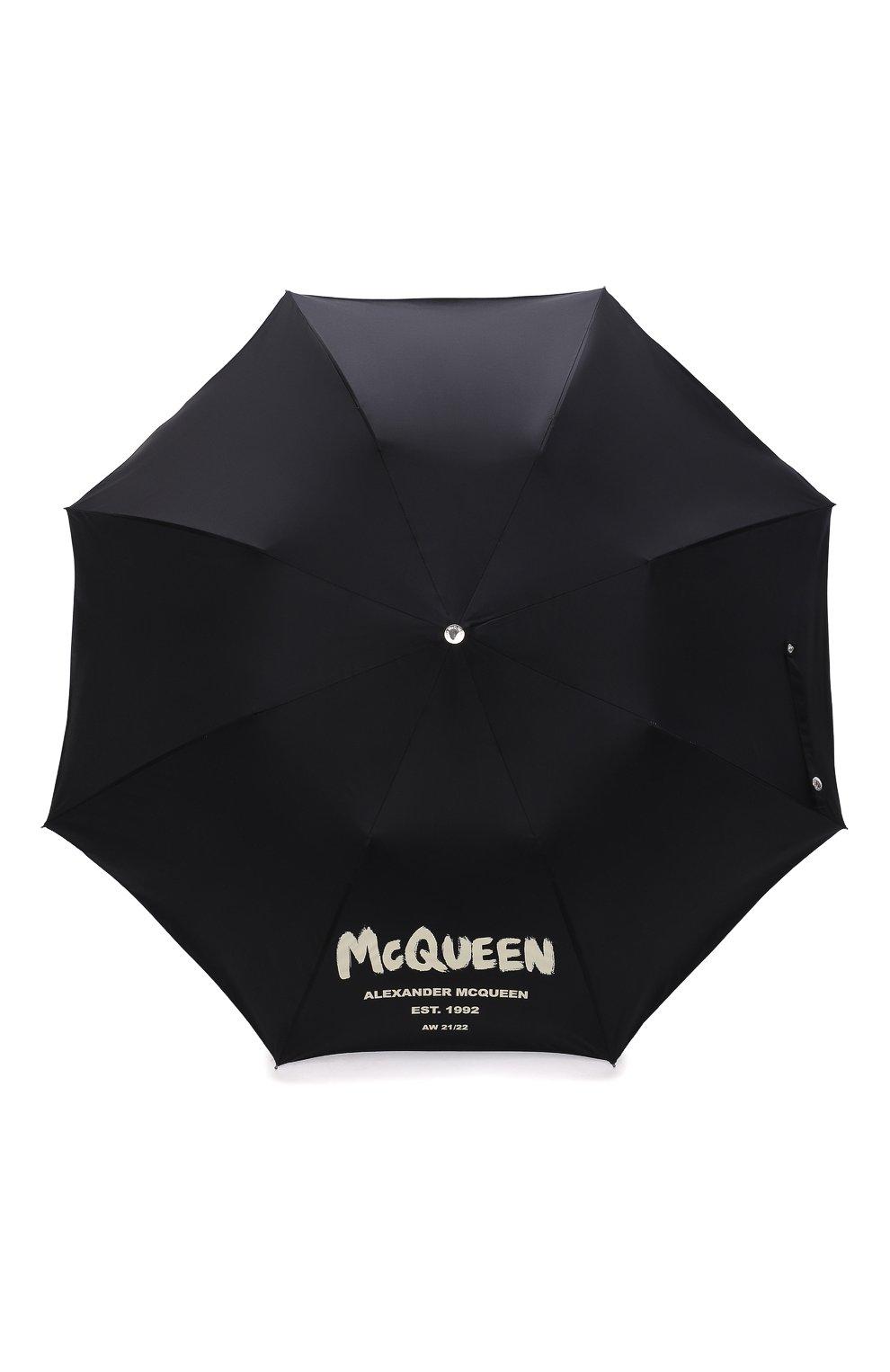 Мужской складной зонт ALEXANDER MCQUEEN черного цвета, арт. 663426/4A71Q   Фото 1 (Материал: Текстиль, Синтетический материал, Металл)