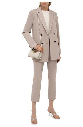Женские хлопковые брюки BOSS бежевого цвета, арт. 50455549 | Фото 2