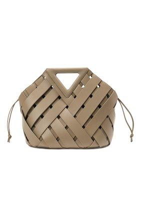 Женская сумка point basket BOTTEGA VENETA хаки цвета, арт. 658697/V0E01   Фото 1 (Материал: Натуральная кожа; Сумки-технические: Сумки top-handle; Размер: medium, large)