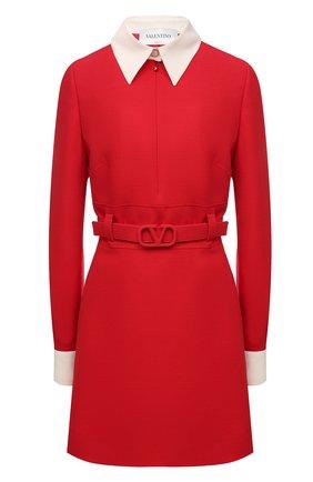 Женское платье из шерсти и шелка VALENTINO красного цвета, арт. WB3VAW611CF | Фото 1