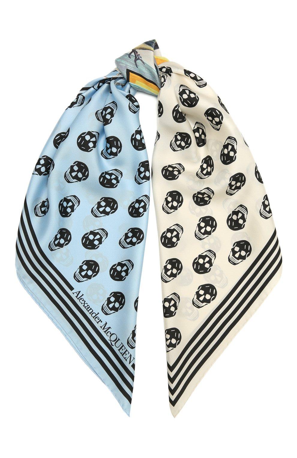 Женский шелковый платок ALEXANDER MCQUEEN голубого цвета, арт. 665692/3001Q | Фото 1