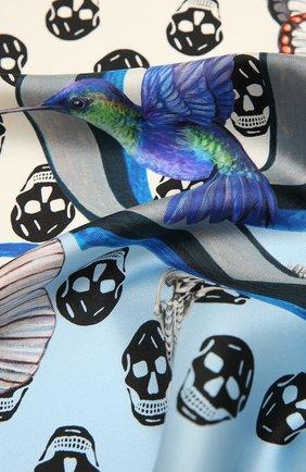 Женский шелковый платок ALEXANDER MCQUEEN голубого цвета, арт. 665692/3001Q | Фото 2