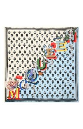 Женский шелковый платок ALEXANDER MCQUEEN голубого цвета, арт. 665692/3001Q | Фото 3