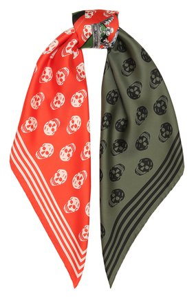 Женский шелковый платок ALEXANDER MCQUEEN красного цвета, арт. 665692/3001Q | Фото 1