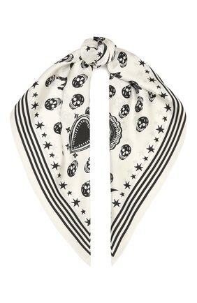 Женский шелковый платок ALEXANDER MCQUEEN черно-белого цвета, арт. 665606/3001Q | Фото 1