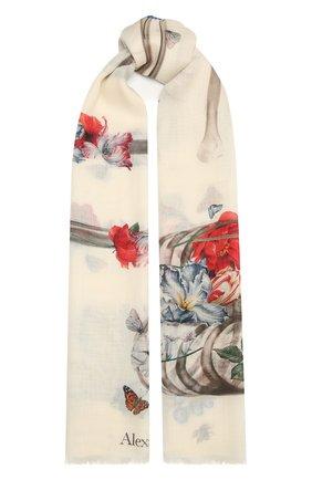 Женская шаль из шерсти и шелка ALEXANDER MCQUEEN кремвого цвета, арт. 664503/3969Q | Фото 1
