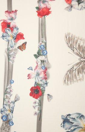 Женская шаль из шерсти и шелка ALEXANDER MCQUEEN кремвого цвета, арт. 664503/3969Q | Фото 2