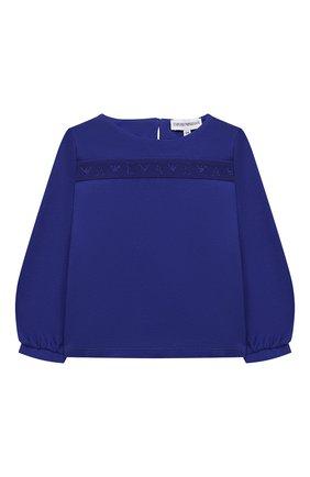 Детский хлопковая блузка EMPORIO ARMANI синего цвета, арт. 6KET10/2J53Z | Фото 1 (Рукава: Длинные; Материал внешний: Хлопок; Ростовка одежда: 9 мес | 74 см, 12 мес | 80 см, 24 мес | 92 см, 36 мес | 98 см, 6 мес | 68 см)