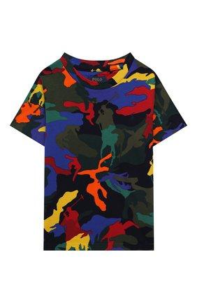Детская хлопковая футболка POLO RALPH LAUREN разноцветного цвета, арт. 321844639   Фото 1 (Материал внешний: Хлопок; Рукава: Короткие; Ростовка одежда: 18 мес   86 см, 3 года   98 см, 4 года   104 см)