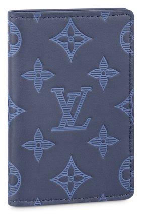 Мужской кожаный футляр для кредитных карт LOUIS VUITTON темно-синего цвета, арт. M80421 | Фото 1