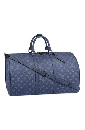 Мужская кожаная дорожная сумка keepall 50 LOUIS VUITTON темно-синего цвета, арт. M45731 | Фото 1 (Материал: Натуральная кожа)