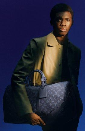 Мужская кожаная дорожная сумка keepall 50 LOUIS VUITTON темно-синего цвета, арт. M45731 | Фото 2 (Материал: Натуральная кожа)