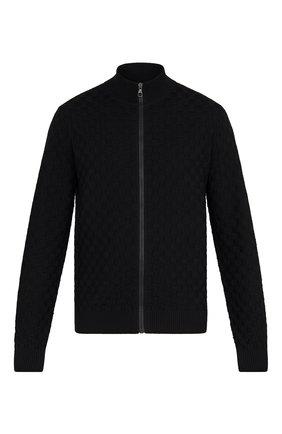 Мужской шерстяной кардиган LOUIS VUITTON черного цвета, арт. 1A7XD9 | Фото 1 (Материал внешний: Шерсть; Мужское Кросс-КТ: Кардиган-одежда; Стили: Кэжуэл)