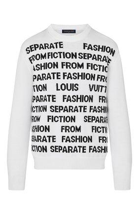 Мужской хлопковый свитер LOUIS VUITTON белого цвета, арт. 1A8WSU   Фото 1