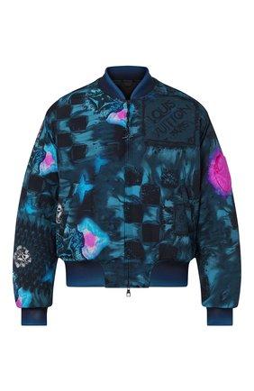 Мужской бомбер LOUIS VUITTON бирюзового цвета, арт. 1A8WTI | Фото 1 (Материал внешний: Синтетический материал; Кросс-КТ: Куртка; Принт: С принтом; Стили: Спорт-шик; Длина (верхняя одежда): Короткие)