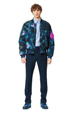 Мужской бомбер LOUIS VUITTON бирюзового цвета, арт. 1A8WTI | Фото 2 (Материал внешний: Синтетический материал; Кросс-КТ: Куртка; Принт: С принтом; Стили: Спорт-шик; Длина (верхняя одежда): Короткие)