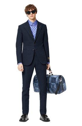 Мужской хлопковый пиджак LOUIS VUITTON темно-синего цвета, арт. 1A8WWG | Фото 2 (Материал внешний: Хлопок; Пиджаки М: Приталенный; Случай: Коктейльный; 1-2-бортные: Однобортные; Стили: Кэжуэл)