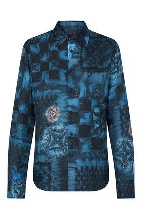 Мужская шелковая рубашка LOUIS VUITTON синего цвета, арт. 1A8XBX | Фото 1 (Материал внешний: Шелк; Рукава: Длинные; Принт: С принтом; Случай: Повседневный; Стили: Кэжуэл; Воротник: Кент; Манжеты: На пуговицах)