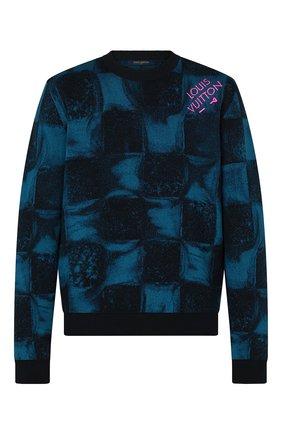 Мужской хлопковый свитер LOUIS VUITTON темно-синего цвета, арт. 1A8XDA | Фото 1 (Материал внешний: Хлопок; Стили: Кэжуэл; Рукава: Длинные; Принт: С принтом; Мужское Кросс-КТ: Свитер-одежда)