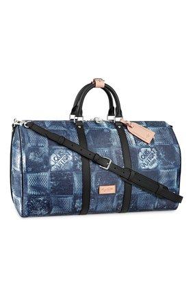 Мужская дорожная сумка keepall 50 LOUIS VUITTON синего цвета, арт. N50059 | Фото 1