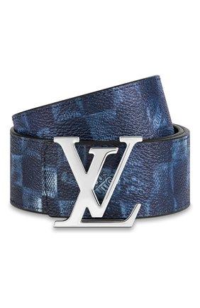 Мужской двусторонний ремень lv initiales LOUIS VUITTON темно-синего цвета, арт. M0378S | Фото 1