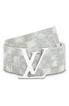 Мужской двусторонний ремень lv initiales LOUIS VUITTON светло-серого цвета, арт. MP300S | Фото 1 (Случай: Повседневный)