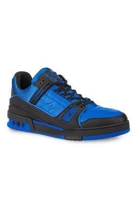 Мужские кожаные кеды lv trainer LOUIS VUITTON синего цвета, арт. 1A8WF4 | Фото 1