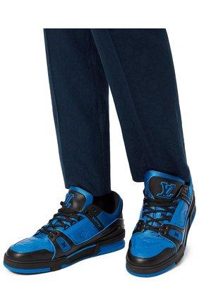 Мужские кожаные кеды lv trainer LOUIS VUITTON синего цвета, арт. 1A8WF4 | Фото 2