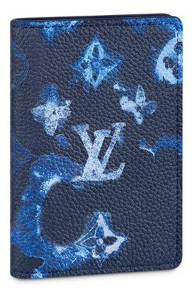 Мужской кожаный футляр для кредитных карт LOUIS VUITTON темно-синего цвета, арт. M80463 | Фото 1
