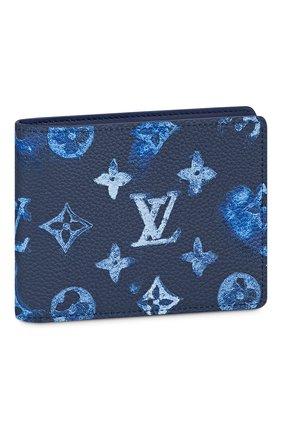 Мужской кожаное портмоне slender LOUIS VUITTON темно-синего цвета, арт. M80464 | Фото 1